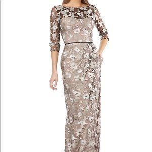 JS Collections-Floral Embroidered Surplice Gown 4
